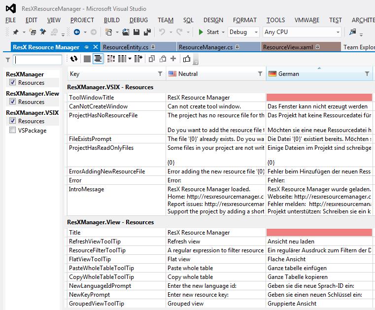 ResX Manager Screenshot