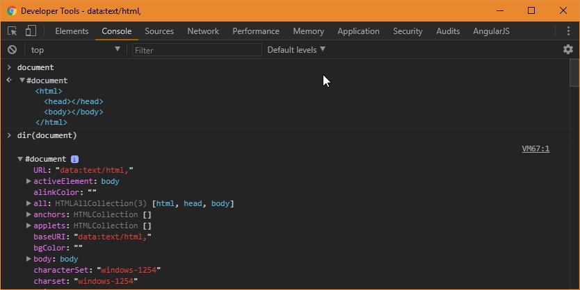 Chrome Developer Tools Dir Function