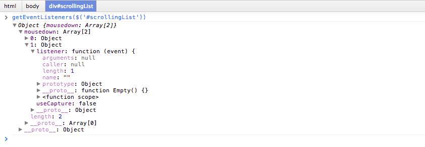 Chrome Developer Tools GetEventListeners 1