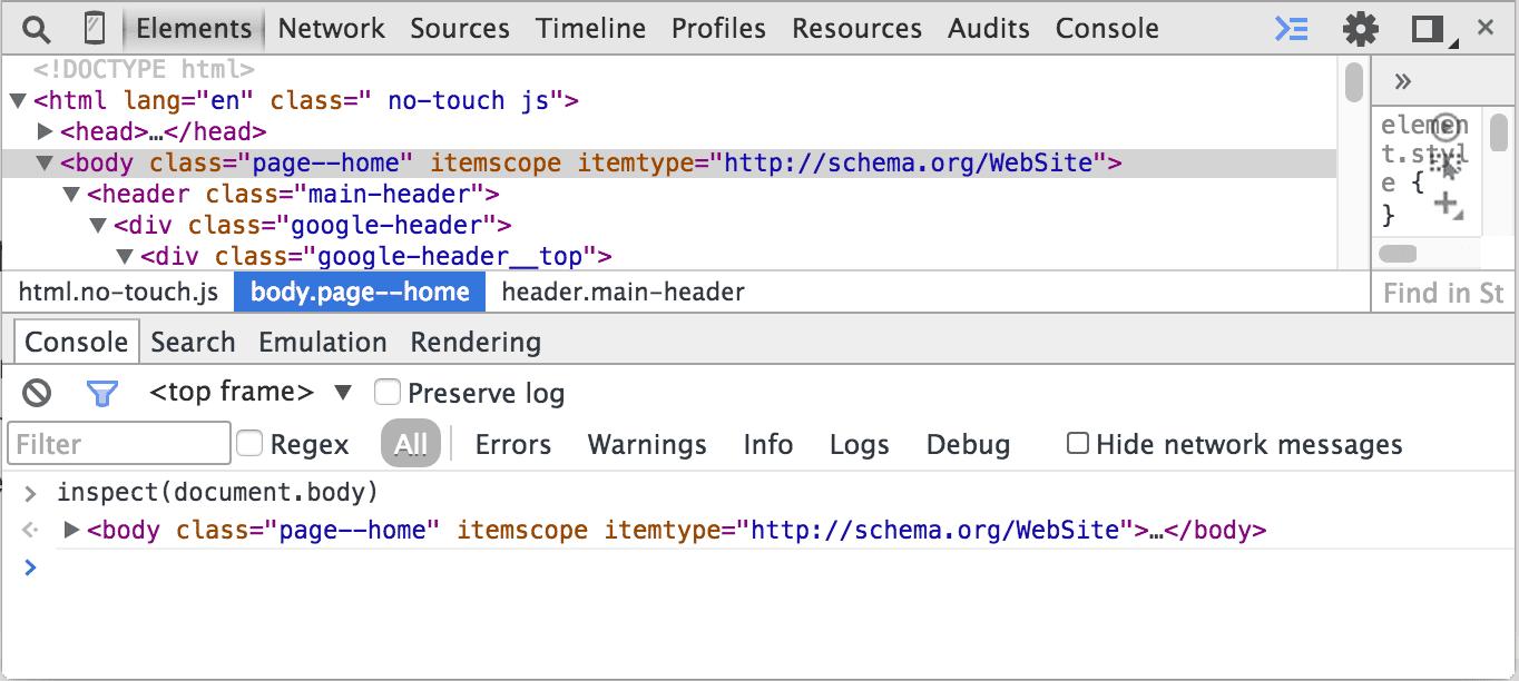 Chrome Developer Tools Inspect Function
