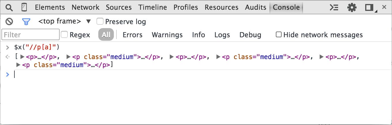 Chromer Developer Tools XPath p attribute a selector